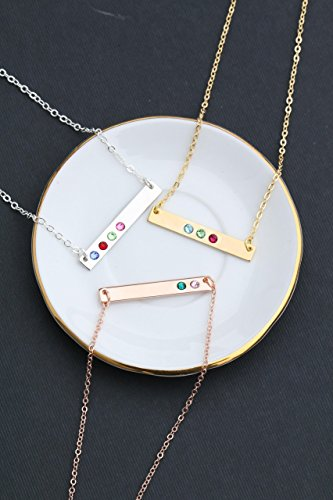 Mommy Tag Necklace - Birthstone Bar Necklace - DII DBB_19 - Gemstone - Rose Gold - Swarovski Crystal - Mommy Children Mother Gift - Silver Tiny Skinny Minimal