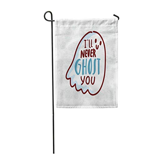 Tarolo Decoration Flag Orange Autumn Pun Halloween Cute Doodles and Lettering Text I Ll Never Ghost You Word Play on Quibble for Bat Thick Fabric Double Sided Home Garden Flag 12