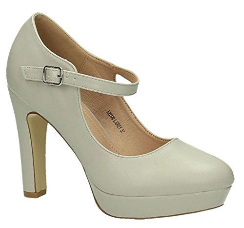 King Of Shoes Klassische Trendige Damen Mary Jane Riemchen Pumps Stilettos Party High Heels Plateau Schuhe Bequem 20 Grau