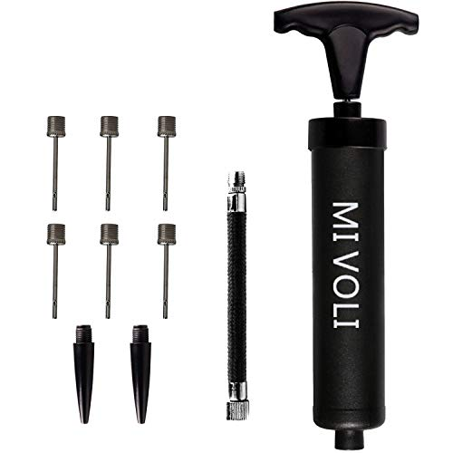 """MIVOLI 8"""" Portable Hand Air Ball Pump Inflator Kit with Needle, Nozzle, Extension Hose for Soccer Football Basketball Volleyball Water Polo Rugby Balloon Swim Inflatables (8"""" - Black) ()"""
