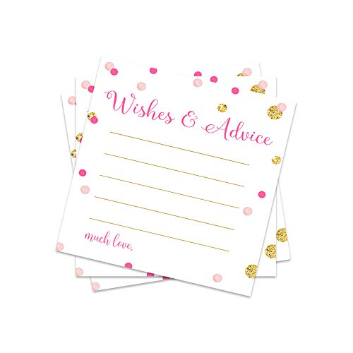 Pink and Gold Advice and Wishes Cards - Pack of 25