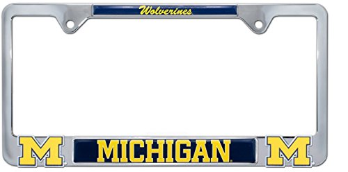 AMG Premium NCAA Wolverines Mascot License Plate Frame w/Dual 3D Logos (Michigan)