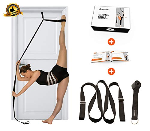 Stretch Strap with Door Anchor - Improve Leg Stretching with Door Flexibility Trainer - Perfect Home Equipment for Ballet, Dance, MMA, Taekwondo, Yoga & Gymnastics Exercises - Booklet & Box Included (Best Door Exercise Equipment)
