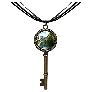 Chicforest Bronze Retro Style Travel Alpsee Lake Jewelry Vintage Key Pendant