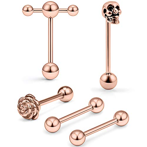 SCERRING 6PCS 14G Stainless Steel Rose Skull Door Lock Tongue Teaser Double Barbell with Slave Ring Nippleings Ring Body Piercing Jewelry Rose Gold