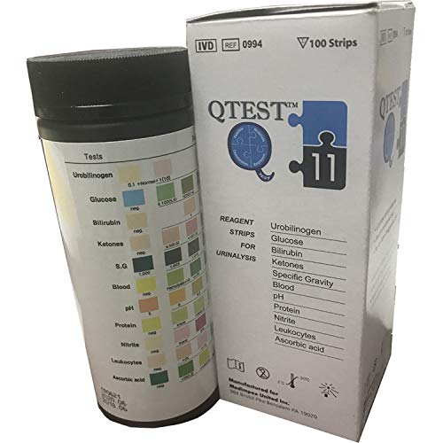Urinalysis Reagent Strips - 11 Paramater (Pack of 100 Strips) by QTest ()
