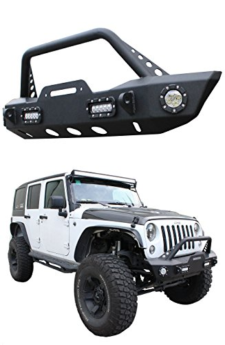 CAREPAIR Black Textured Rock Crawler Offroad Front Bumper with Winch Mounting Plate & D-Ring & Fog Lights for 2007-2016 Jeep Wrangler JK