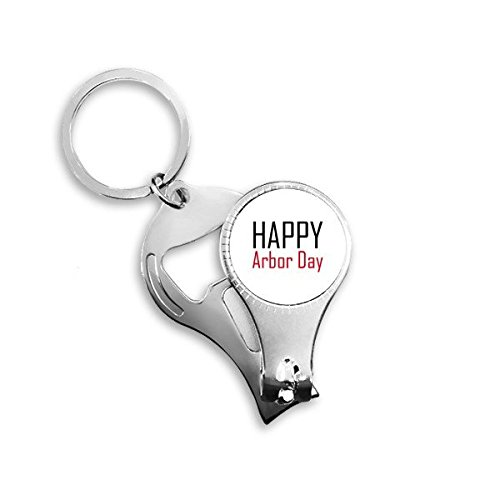 (Celebrate Arbor Day Blessing Festival Holiday Gala Celebration Words Metal Key Chain Ring Multi-function Nail Clippers Bottle Opener Car Keychain Best Charm Gift )