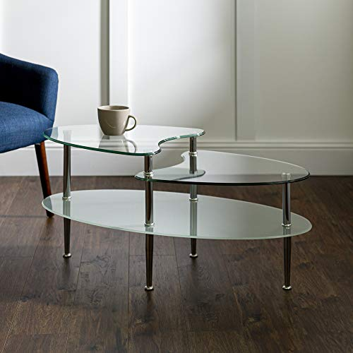 Walker Edison Modern Coffee Accent Table Living Room, Wave Top, Clear Glass (Oval Glass Table Small Coffee)