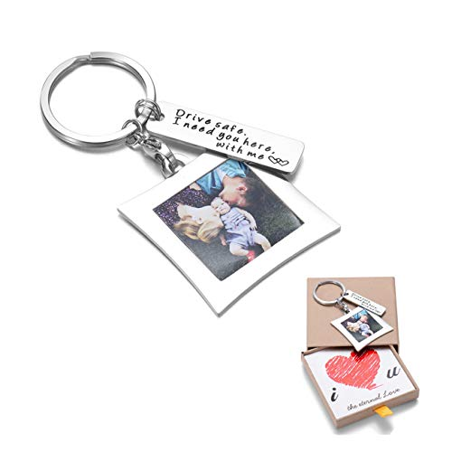 Message Keychain - OFGOT7 Drive Safe Keychain I Need You Here with Me and Elegant Mini Photo Frame, for Someone You Love, Trucker Husband Or for Boyfriend,dad Gift,Valentines Day Stocking Stuffer