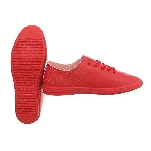 Ital-Design Sneakers Low Damenschuhe Schnürsenkel Freizeitschuhe Rot 1838-5