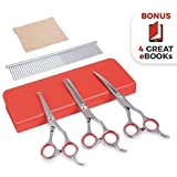 AEXYA Premium Lady Dog Grooming Scissors Kit 3SR Pet Groom Hair Tool Set Stainless Steel Straight, thinning and Curved Sharp Shears for Small or Large Dog, cat or Other pet