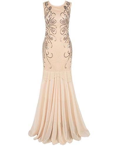 Prettyguide Women 1920s Ball Gown Sequin Long Evening Formal Dress S