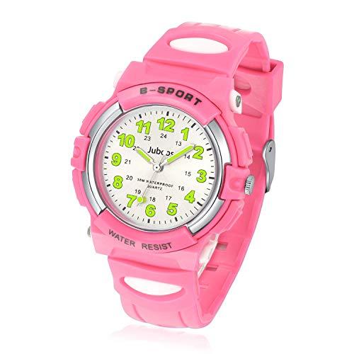 Kids Watch Analog, Child Quartz Wristwatch with for Kids Girls Waterproof Time Teach Watches Rubber Band Analog Quartz Children Sport Outdoor Girls Wrist Watches (Pink)
