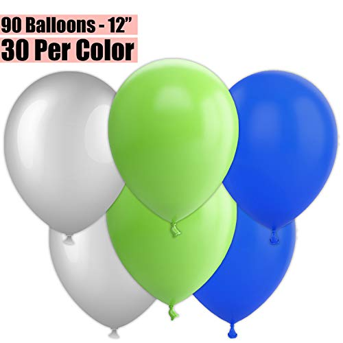 12 Inch Party Balloons, 90 Count - Metallic Silver + Lime Green + Royal Blue - 30 Per Color. Helium Quality Bulk Latex Balloons In 3 Assorted Colors - For Birthdays, Holidays, Celebrations, and More!!