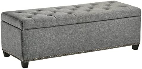 First Hill Thomas Rectangular Storage Ottoman Bench, Large, Stone Grey