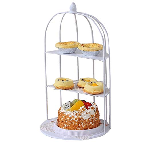 EFGS 3 Tier Cake Stand, Medium Iron Art Afternoon Tea Stand, Cake Patisserie, Muffins, Biscuits Table Display,White