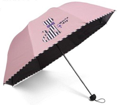 Cute Cat Design Sun Rain Folding Umbrella Striped Print (Pink) (Dance Racks Costumes)