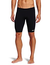 Arena Men\'s Board Race Polyester Solid Jammer Swimsuit - Black/Metallic Silver,32