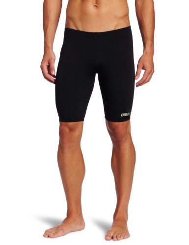 Arena Men's Board Race Polyester Solid Jammer Swimsuit - Black/Metallic - Race Swimsuits