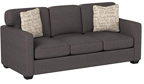 Ashley Furniture Signature Design Alenya Sleeper Sofa With 2 Throw Pillows Queen Size Vintage Casual Charcoal