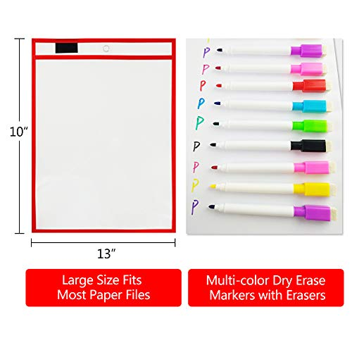 Augoog 20 Dry Erase Pockets with Erasable Pens and Marker Holder, Assorted Color 10 x 13 inch Reusable Sheet Protectors for Classroom Organization Teaching, Office, Home Education by Augoog (Image #3)