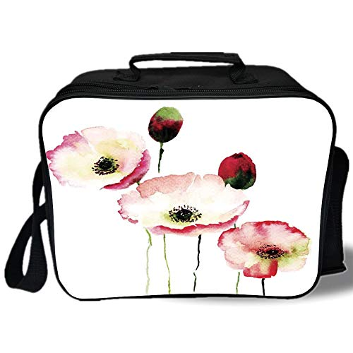 Insulated Lunch Bag,Poppy,Stylised Different Sized Poppy Flowers Revival Growing Widely Known Eternal Life Sign,Pink Red,for Work/School/Picnic, Grey