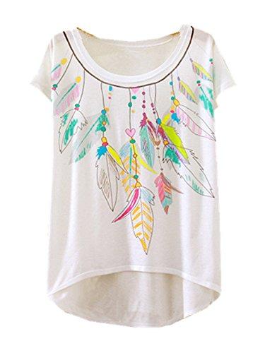 Cami Di Yichun Moda Abbigliamento Modo Camicia Parti T Superiori T Di shirt 9 Donne Piuma Stampata Sottili Delle Svago Tunica Ragazze Casual PqwPUr7