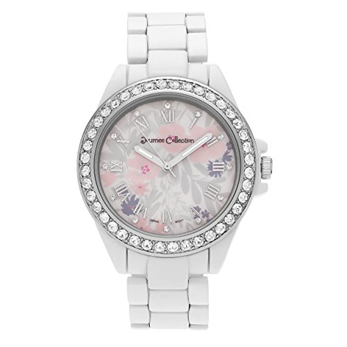 Journee Collection Womens Rhinestone Accent Roman Numeral Flower Dial Bracelet Watch Journee Accent