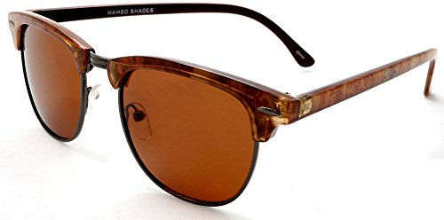 Unisex Classic Polarized Browline Wayfarer Sunglasses - Vivien & Malcolm Clubmaster Samba - Men Sunglasses Browline