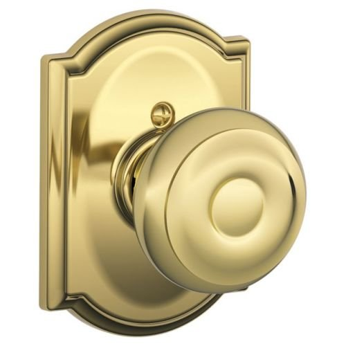 Geo Bright Brass Finish - Schlage F170 Georgian With Camelot Rose Half Dummy Bright Brass Finish
