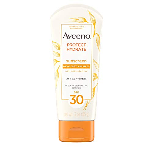 Aveeno Protect + Hydrate Moisturizing Sunscreen Lotion with Broad Spectrum SPF 30 & Antioxidant Oat, Oil-Free, Sweat- & Water-Resistant Sun Protection, Travel-Size, 3 oz (Best Suntan Lotion For Face Uk)