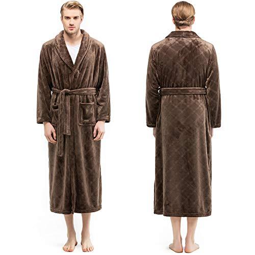 Bencier Bathrobe Men's Plush Soft Shawl Collar Fleece Robe Breathable Adjustable Waist Belt - Home Hotel Thick Spa Bathrobe (Coffee, -