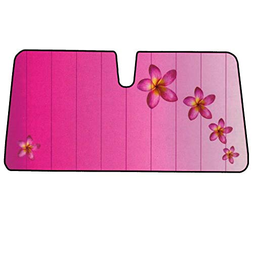 C.P.R. Bubble Accordion Pink Flower Front Windshield Sun Shade 54.5