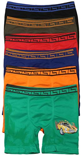 (ToBeInStyle Boys' 6 Pack Burning Race Car Long Leg Boxer Briefs - Small)