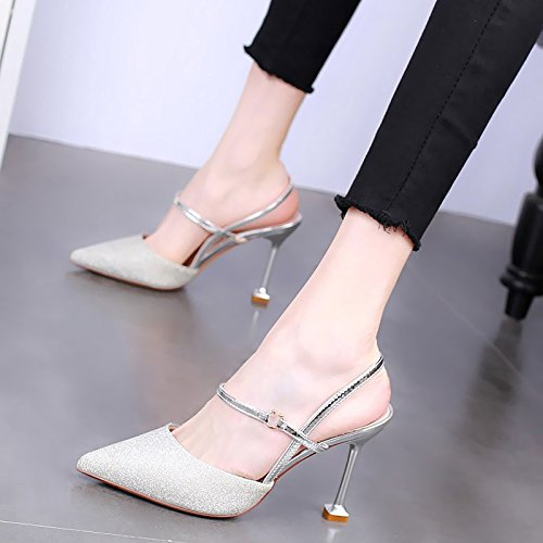 Shoes Shoes Fine Single Cat silvery Fashion Sandals Pointed Heel High KPHY 9Cm Buckle Heel Summer Sexy Heel Shoes Single PIOZw1