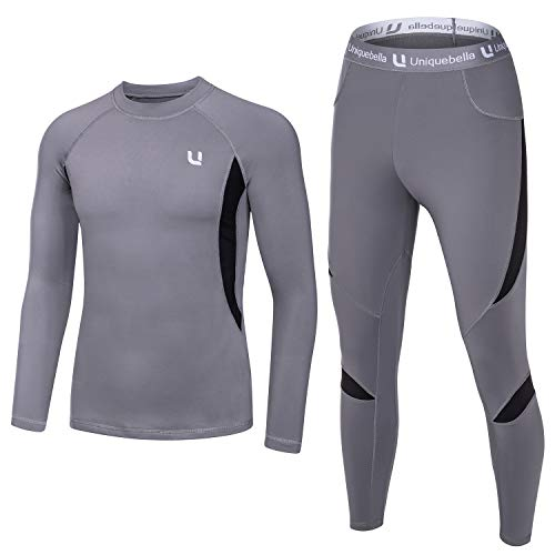 UNIQUEBELLA Men's Thermal Underwear Sets Top & Long Johns Fleece Sweat Quick Drying Thermo (Sets Grey, XXL)