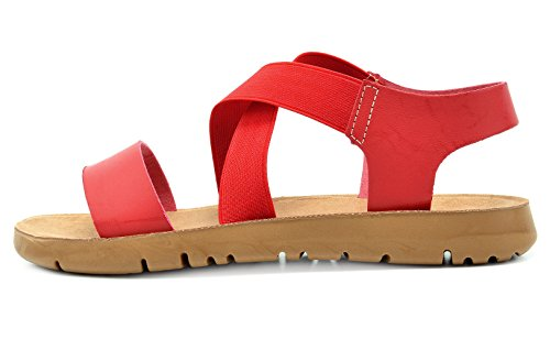 Dröm Par Kvinna Grekiska Plattform Kil Platta Sandaler Röd-01