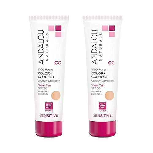 Andalou Naturals 1000 Roses CC Color + Correct Sheer Tan SPF 30, 2 Ounce (Two Pack)