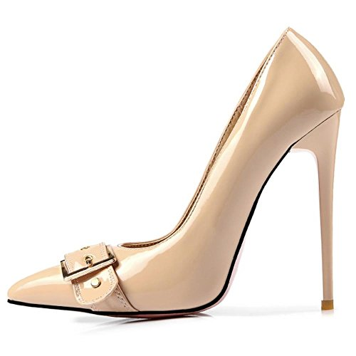 Pumps Women COOLCEPT Stiletto Fashion Court Heels Aprikose Shoes High Party 5vvqXw4x