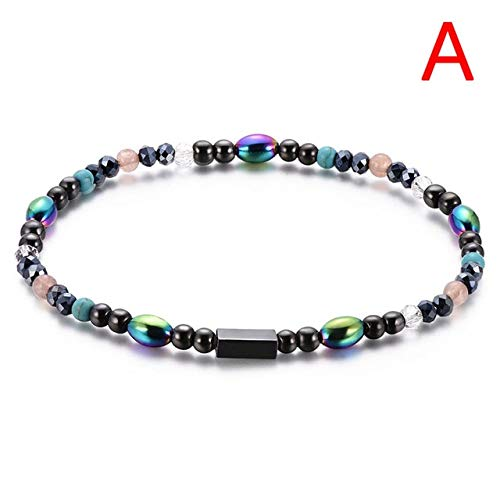 djustable Weight Loss Round Black Stone Magnetic Therapy Bracelet Health Care Luxury Slimming Product - (Color: Anklet) ()
