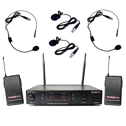 Dual Microphone Professional Wireless Series (Phenyx Pro Dual VHF Wireless Microphone System, Fixed Frequency, Stable Signal, Easy Setup, Best for Home Use, Church, Karaoke, Events (PTV-1) (Two Headsets and Two Lapels, Black))