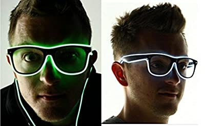 Evday LED Light Up Glasses for Rave Costume Party with Battery Controller Red