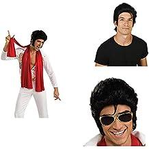 Elvis Wig Sunglasses and Scarf Bundle Set
