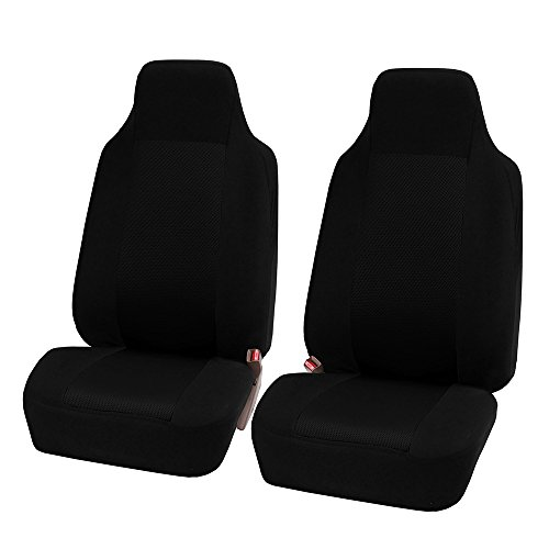 FH Group FB102BLACK102 Black Front Classic Cloth 3D Air mesh Bucket Auto Seat Cover, Set of 2