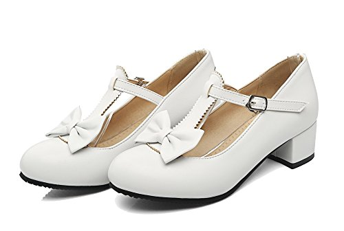 Low Solid Toe Heels Pumps Material Shoes Buckle Soft White Round Women's WeiPoot 84qnYY