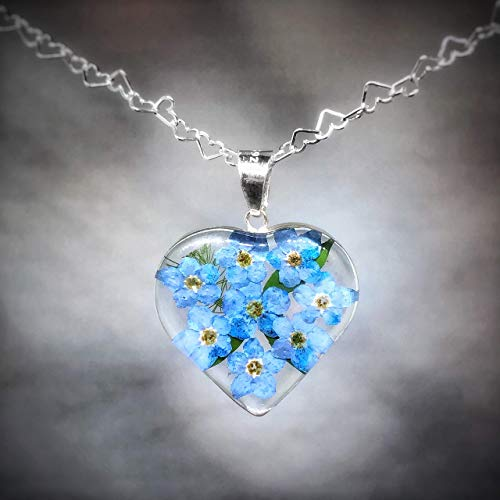 Sterling Silver Heart Pendant Necklace by TAMI, with Real Natural Pressed Forget Me Not