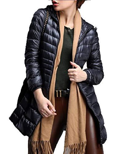 Winter Coat Women's Jacket Down Lightweight Black Long Hooded Outwear security Packable 5gZxqOx4