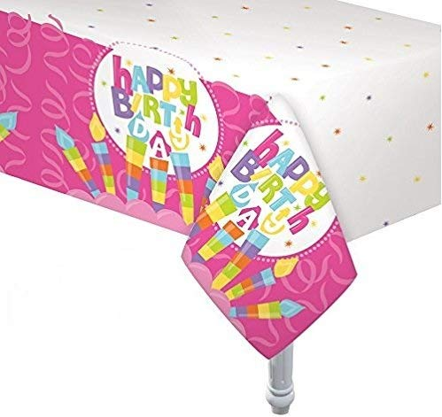Oojami Pack of 4 Happy Birthday Candle Tablecover 54x108