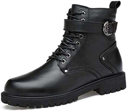 ブーツ メンズ ブラック 革靴 牛革 秋冬 マーチンシューズ 裏起毛 暖かい 防滑 防寒 カジュアル マーティンブーツ 作業ブーツ 滑り止め 無地 アウトドア 通勤用 メンズ靴 ウォーキングシューズ 綿靴 厚底 安全靴